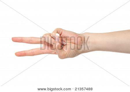 Woman Hand Scissors Gesture