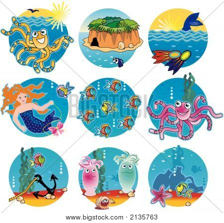 Warm Water Life - Fish, Underwater Scenes, Octopuses, Mermaid, Treasure Island