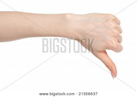 Woman Hand With Thumb Down