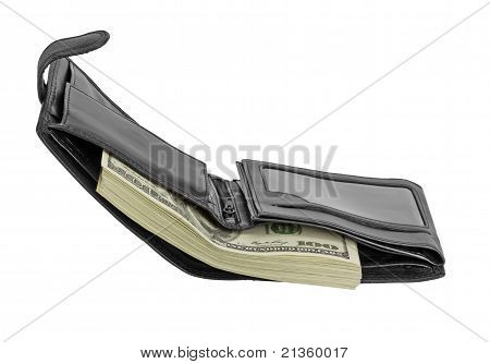 Black Leather Wallet With Money