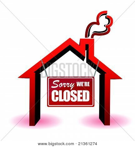 business sorry we're closed sign illustration design