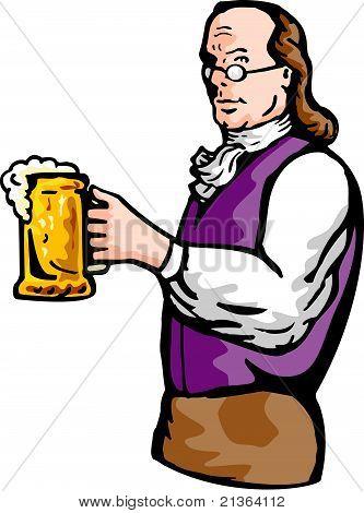 Benjamin Franklin with beer mug