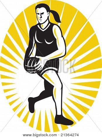 netball player running with ball