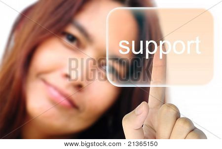 women hand pushing support button