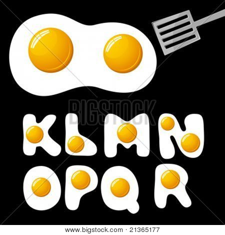 vector fried eggs alphabet
