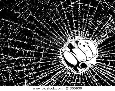 Broken Glass Fist. One Color Illustration.