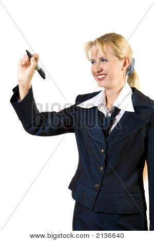 Businesswoman Write On A Glass Board