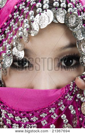 Close up picture of a Muslim woman wearing a veil
