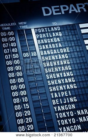 Departure timetable in Changi airport Singapore, Asia