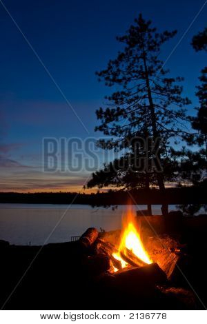 Algonquin Provincial Park Campsite And Campfire