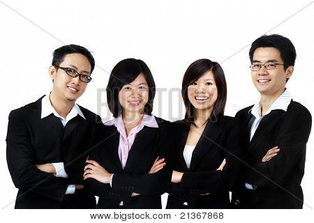 Asian business team on white background