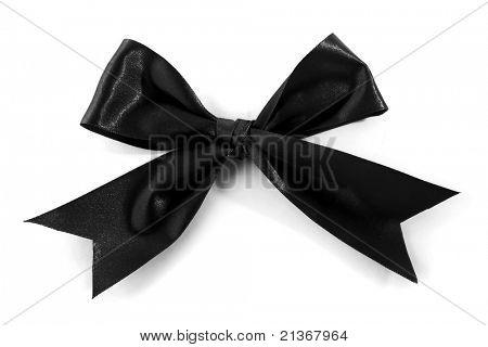 Single Black Bow isolated on white background