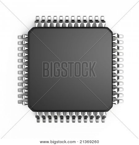 Microchip isolated on white background