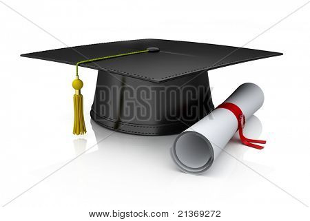 Graduation cap and diploma