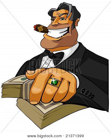 Happy millionaire with cigar