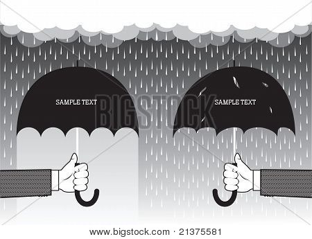 Hands Holding Umbrellas Under Big Rain.vector Graphic Background For Text