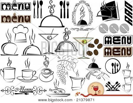 Menu Design mix icon, symbols for Hotel, Bar, Restaurant