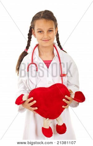 Future Doctor Girl Holding Heart Toy
