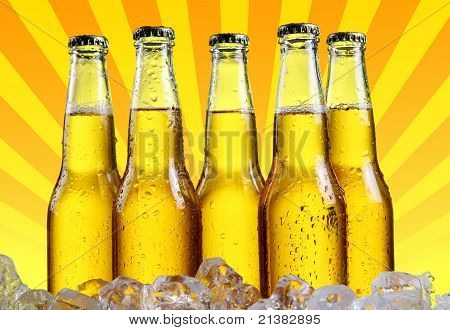 Bottles Of Beer With Abstract Background