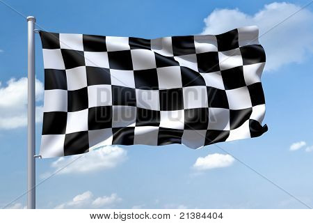 An image of a Formula1 flag in the blue sky