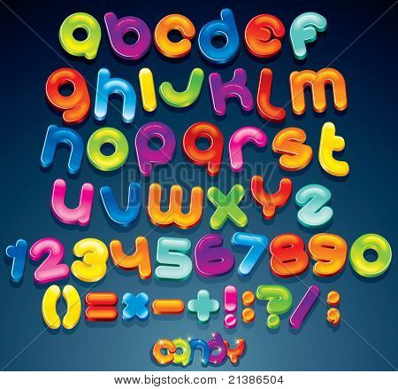 Multicolored Shiny Vector Font, available all letters, numbers and signs