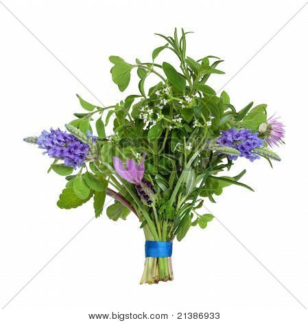 Flower And Herb Leaf Posy