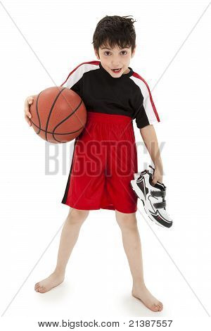 Boy Child Basketball Playing Nerd