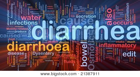 Background concept wordcloud illustration of diarrhea diarrhoea glowing light