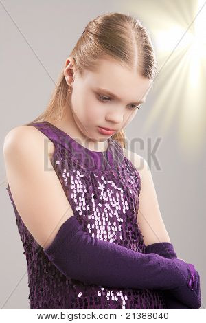 Blond Caucasian Girl And Pouring Sunlight