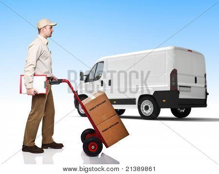 standing worker with handtruck