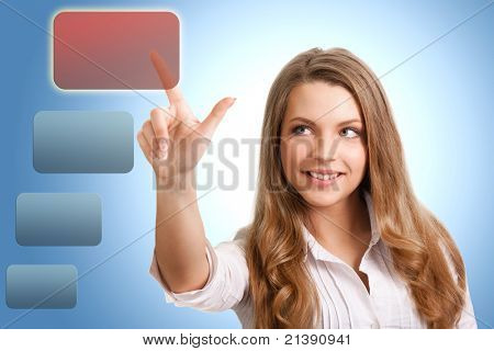 happy successful woman makes the choice of modern technology
