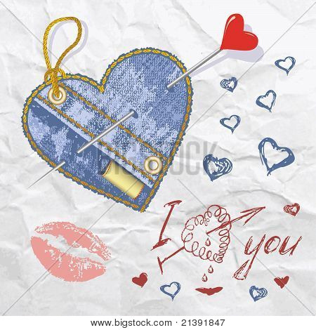 Heart shaped jeans emblem with button. Vector illustration