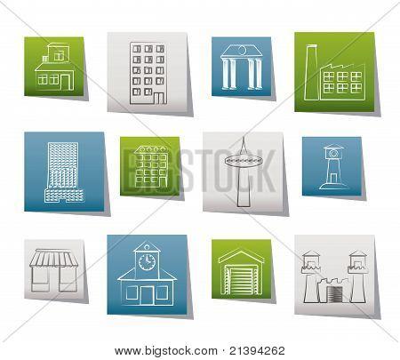 Постер, плакат: различные виды здания и города иконы, холст на подрамнике