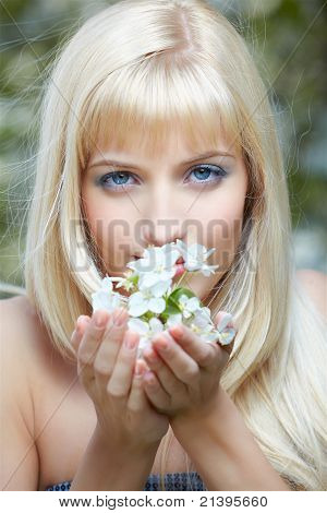 Beautiful Blonde With Flowers