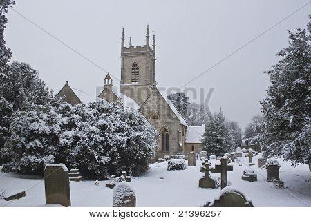 Upton St Leonards Church With Snowfall