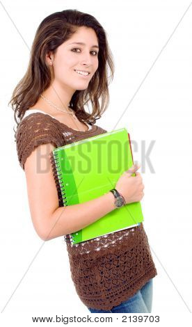 Female Student With Notebooks