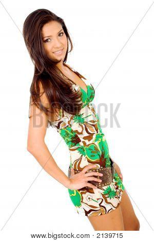 Fashion Girl Wearing A Summer Dress