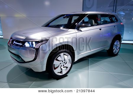 Moscow, Russia - August 25:  Grey Jeep Car Mitsubishi  Concept At Moscow International Exhibition In