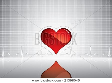 Heart And Heartbeat Symbol On Reflective Surface