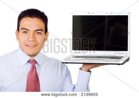 Business Man Displaying Laptop