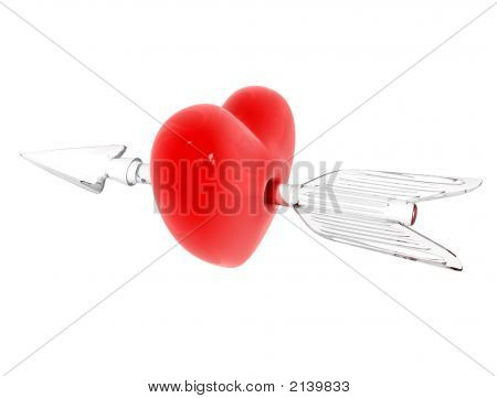 Red Heart Broken By Glass Arrow