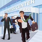 Busy Businessmen Near Of Business Center poster