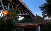 stock photo of burlington  - dramatic angle of a bridge against morning sky - JPG