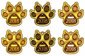 New Year Sticker Of Dog Paw. Set Of Stickers poster