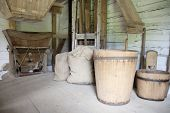 foto of hopper  - Vintage mill hopper in old wooden rural house - JPG