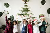 Cheerful diverse kids at Christmas poster