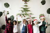 Cheerful diverse kids at Christmas poster