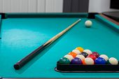 Sport, Recreation, Game, Competition - Playing Billiard. Billiards Balls An Cue On Billiards Table. poster