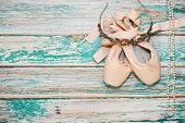 Ballet Shoes And Accessories On Stage poster