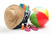 image of beach-ball  - Beach items with straw hat - JPG